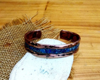 Lapis Copper Cuff Bracelet.  Antique Brushed.  2.2mm X 15mm Thick and Wide.