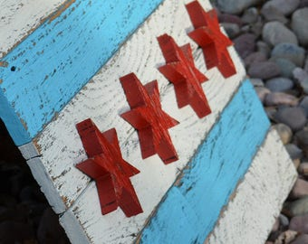 "Chicago Flag Barn Wood Lumber Reclaimed Barnwood 3-D star Windy City Americana Flag 26""w x 17 1/2""h x 1 1/8""  Vintage Primitive Rustic"