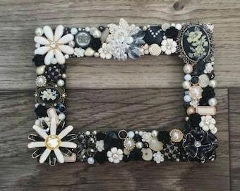Black and White 5x7 inch Jeweled Frame