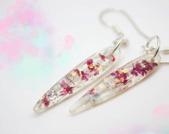 Real Flower Earrings, Pressed Flower Earrings, Floral Earrings, Pink Flower Sterling Silver Earrings,Resin Earrings,Faceted Drop Earrings