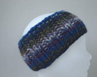 knit ear warmer blue purple olive chunky head warmer child size 6-11 yrs warm comfortable knit thick yarn head band boy no seams hand knit