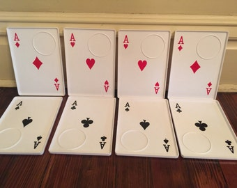 Vintage Playing Card Snack Trays/Aces Snack Trays/Poker Trays/Las Vegas Theme Party/Alice in Wonderland Part