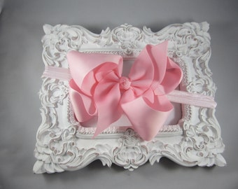 NEW OTT over the top pink 6 inch hair bow stretch headband