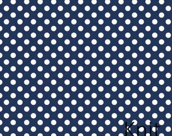 Small Dot Navy Knit by Riley Blake - Navy with white polka dot - Jersey KNIT Cotton Lycra Stretch Fabric - Choose Your Cut