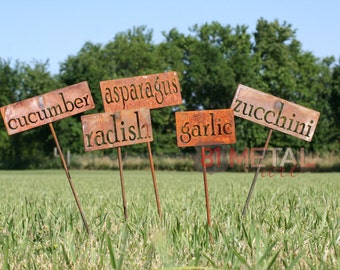 Set of 18 Classic Metal Garden Markers - set of garden markers, garden label, vegetable garden, plant markers, herb garden markers