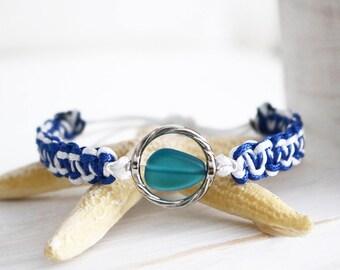 Beach Glass Bracelet / Support Mission Blue Bracelet / Surf Bracelet / Nautical Bracelets / String Bracelets / Waterproof Bracelets