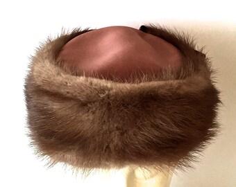 Vintage Mink Pillbox Hat, Brown Mink With  Satin,  Mink Hat, Mid Century, 1950s 60s, Mink Fur Hat, Made In The USA