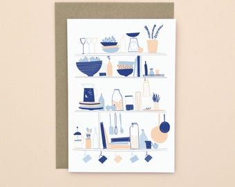 Illustrated Kitchen Greetings Card A6 Blank Inside