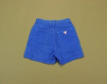 Guess Denim Shorts, Vintage Guess Shorts, 90s Mom Shorts, 90s Jean Shorts, High Waisted Shorts, Cuffed Wide Leg Shorts Size 28, Medium