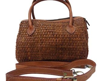 Marcia Woven Leather Handbag