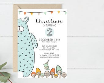 Birthday Invite Printable, Bear party Invitation, Baby animals Party Invite, First Bday Invite, Modern Animals Party Invite (B15.Bday)