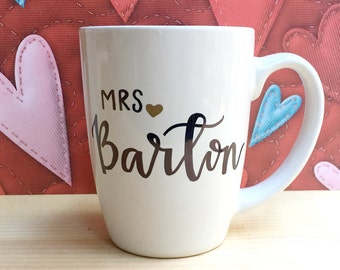 Personalized Mrs Coffee Mug Custom Mrs Mug Future Mrs Mug Fiance Gift for Her Engagement Bridal Shower Bride to Be Bachelorette Wedding Gift