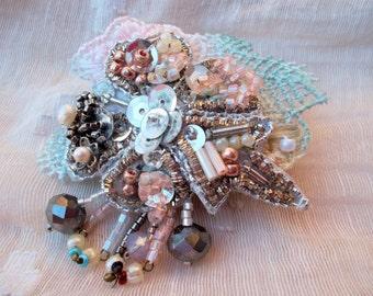 Fabric brooch embroidered vintage fiber brooch lace pearls wedding brooch bride jewelry OOAK