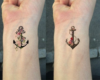 Temporary Tattoo - TEMPORARY TATTOO - Set of 2 Flower Anchor / Wrist tattoo
