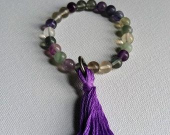 Wrist Mala, Fluorite, Gemstone Mala, Bracelet Tassel, Jewelry