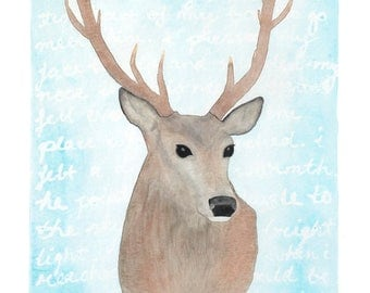 Eco-Friendly Stag Print 'Warmth and Light' - A4