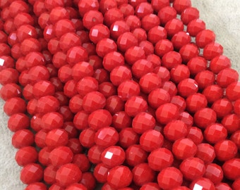 """8mm x 10mm Glossy Finish Faceted Opaque Cadmium Red Chinese Crystal Rondelle Beads - Sold by 17"""" Strands (Approx. 57 Beads) - (CC810-69)"""