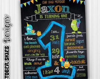 Monster Birthday Chalkboard / Chalkboard Poster / Printable / Custom / 1st year / Printable Chalkboard