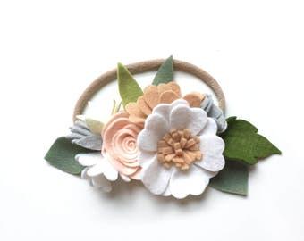 Woodland small flower crown -  - felt flower crown/ felt flower headband/ girls accessories/ whimsical/ vintage/ boho/ floral crown