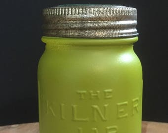 "Original Vintage Pea Green ""Kilner"" Glass Jar Container/Utensil Jar with Original Lid"