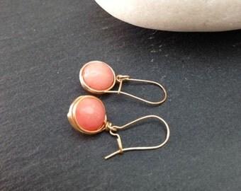 Gold Drop Earrings 14k Gold Filled Dangle Earrings Pink Opal Beads Wire Wrapped Earrings