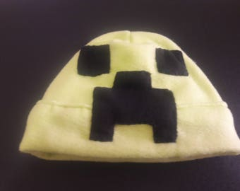 Adult Creeper Minecraft Inspired  Beanie, Minecraft Cosplay Hat, Gift Idea for teens, Creeper Costume, Minecraft prop hat.