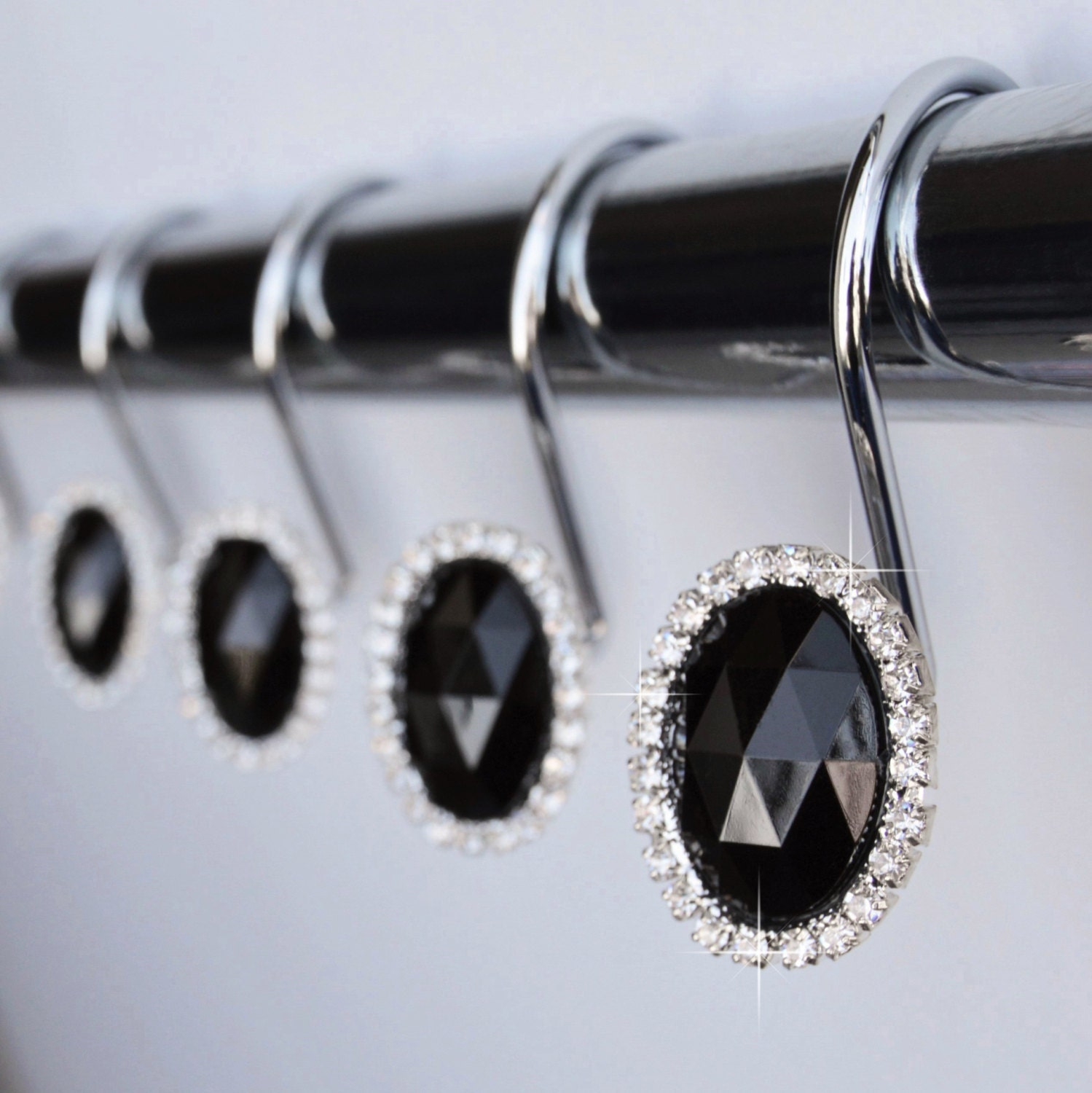 shower curtain hooks rings oval black crystal by americancuteness. Black Bedroom Furniture Sets. Home Design Ideas