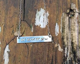 Coordinates Stamped Necklace- Custom