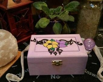 Tarot Card Box, Hand Painted Wooden Tarot Box, Jewelry Box, Altar Box, Witch Tarot Box, Crystal Keepsake, Flower Box