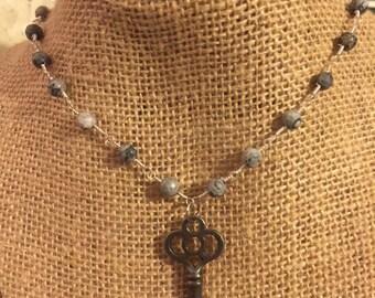 Gray Beaded Key Necklace