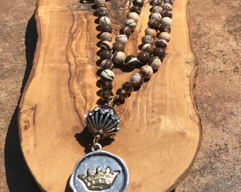 OOAK- Crown pendant - hand knotted necklace in rich colors of cream & browns - by HappyRocksBoutique