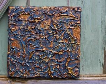 """dusty blue antique texture canvas Original Art 8"""" by 8"""""""