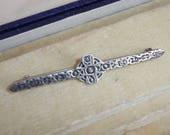 A Lovely Antique Vintage Early Edwardian Silver Scottish Celtic Cross Design Brooch  Lapel Pin