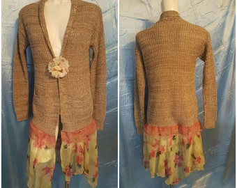 AA7--Altered couture by SuElles-Size medium-Sweater-Cardigan-Lace-Tattered stitching-Concert -Remade -Spring fashion-Causal-Hip-Trendy-Young