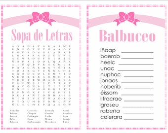 2-in-1 games Sopa de letras and Balbuceo Baby Shower  (Pink bow)