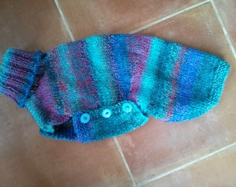 Small whippet jumper in pretty blues, aqua and pink - Ready to post