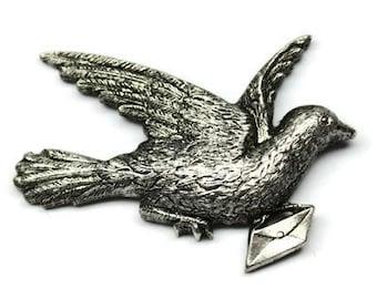 1pcs--Brooch, Messenger Dove,Brass Metal Stampings, Antique Silver, 54x37mm (B16-32)