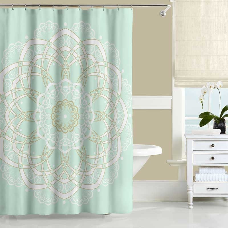 mandala shower curtain mint green and gold bohemian shower
