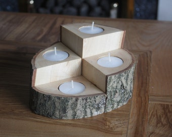 Wooden Tealight Holder, 4 Piece set