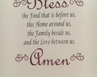Bless the food custom wall decal