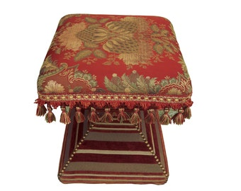 Brocade Tassel Upholstered Footstool French Tassel Footstool English Country Floral Brocade Ottoman French Upholstered Paris Tabouret