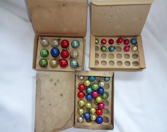 Vintage glass Christmas Ornaments Very Tiny Balls 4 boxes