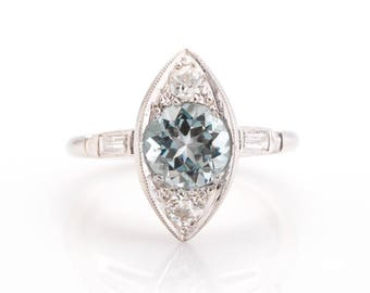 Circa 1940's Art Deco Platinum 1.30ct Natural Aquamarine Old European Cut Round Engagement Ring - VEG#805