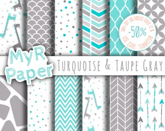 "Giraffe digital paper: ""Turquoise & Taupe Gray"" giraffes pack of backgrounds with papers - perfect for Baby Shower"