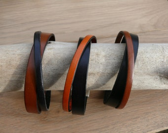 Bracelet leather man - brown leather strap - bracelet magnetic clasp - camel leather bracelet