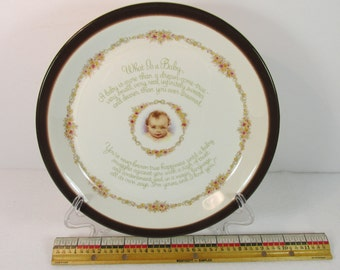 What Is Baby - Saying  9 inch Plate Barratts of Staffordshire England - b cup Logo