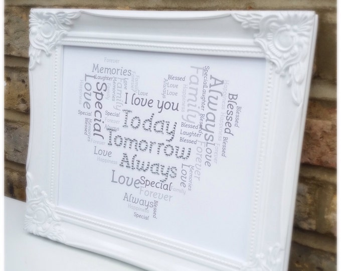Personalised word cloud Print | I love you today tomorrow always quote custom print | Framed | With crystals | Sparkle.