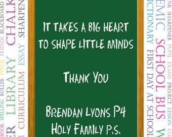 Personalised Teacher / Classroom assistant Thank You Print.