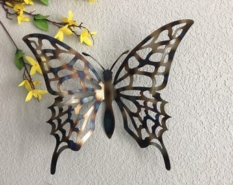 butterflies painted metal wall art butterfly butterfly. Black Bedroom Furniture Sets. Home Design Ideas