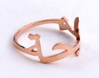 Rose Gold Arabic Name Ring,Islamic Ring,Arabic Ring,Name Ring,Unique Ring,Personalized Ring,Bridesmaid Ring,Hand Cut Ring,Arabic Jewelry